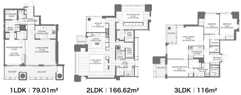 六本木ヒルズレジデンスの1LDK、2LDK、3LDK