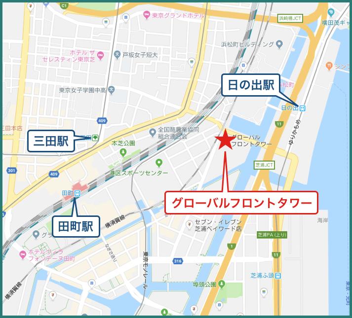 グローバルフロントタワーの地図