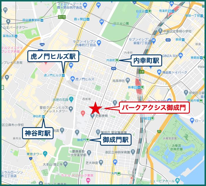 パークアクシス御成門の地図