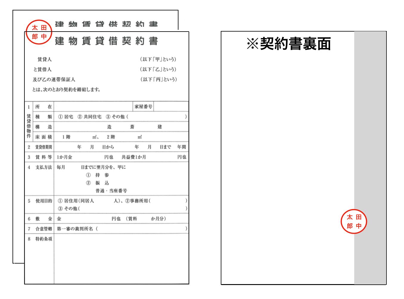 割り印の捺印イメージ