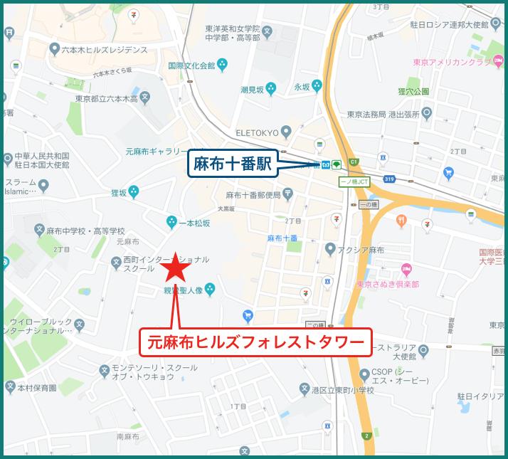 元麻布ヒルズフォレストタワーの地図