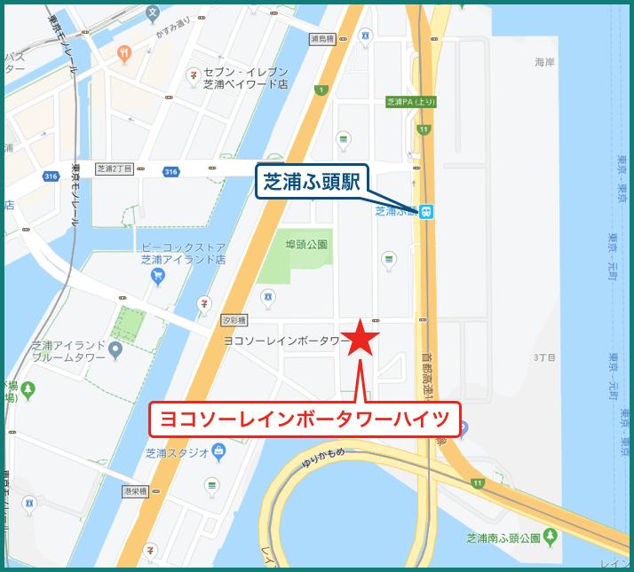 ヨコソーレインボータワーハイツの地図
