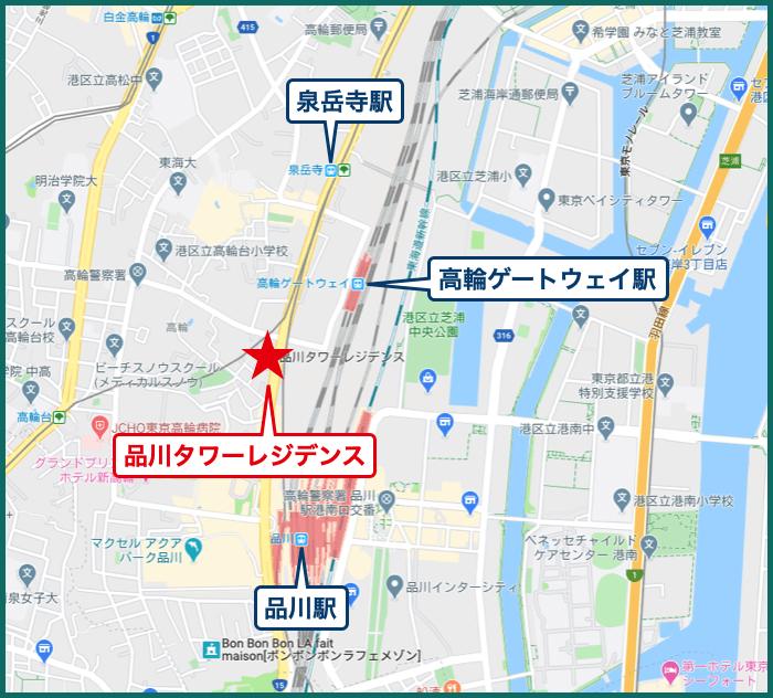 品川タワーレジデンスの地図
