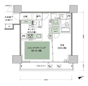 東京ベイシティタワー1LDKの間取り