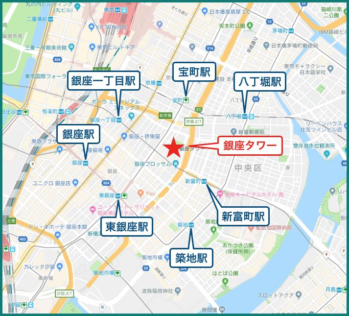銀座タワーの地図