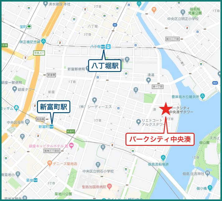 パークシティ中央湊 ザ タワーの地図