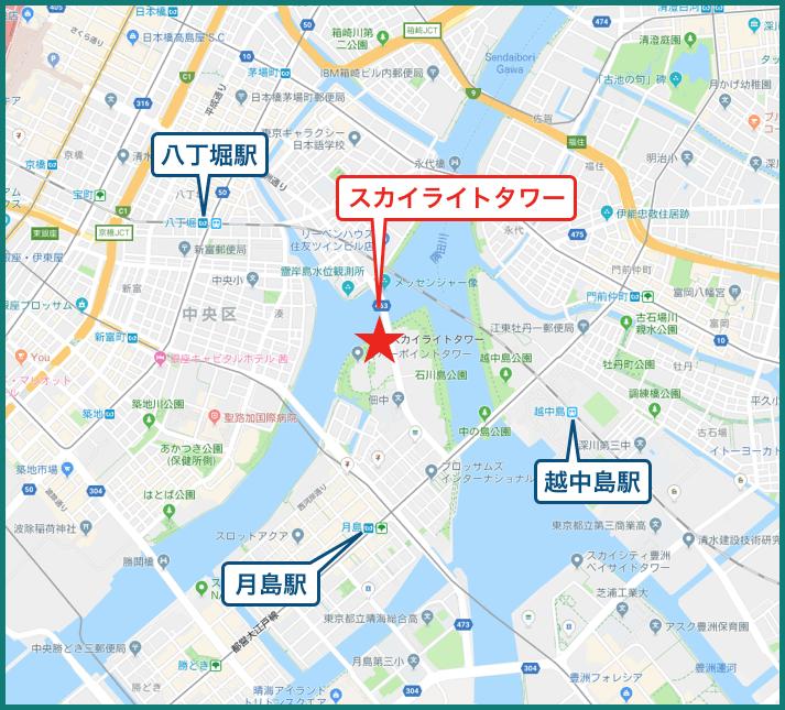 リバーシティ21スカイライトタワーの地図
