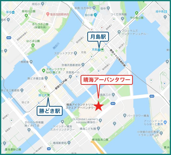 晴海アイランドトリトンスクエアアーバンタワーの地図