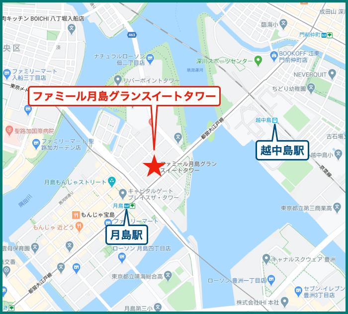 ファミール月島グランスイートタワーの地図