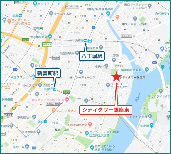 シティタワー銀座東の地図