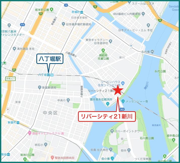 リバーシティ21新川の地図