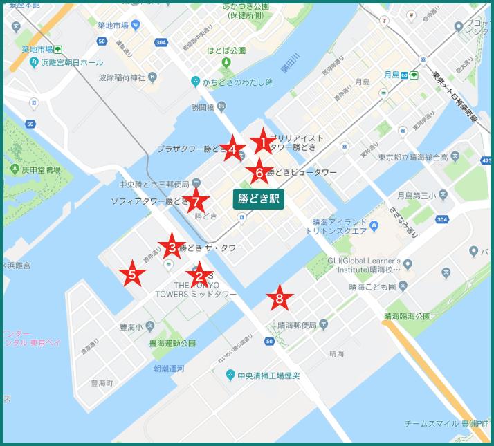 勝どきタワーマンションの地図