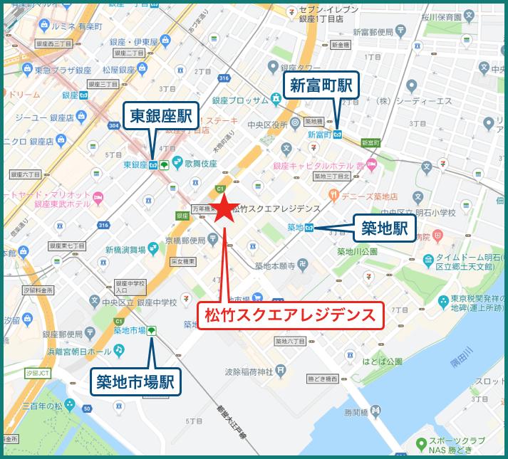 松竹スクエアレジデンスの地図