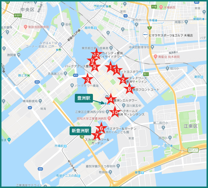 豊洲タワーマンションの地図