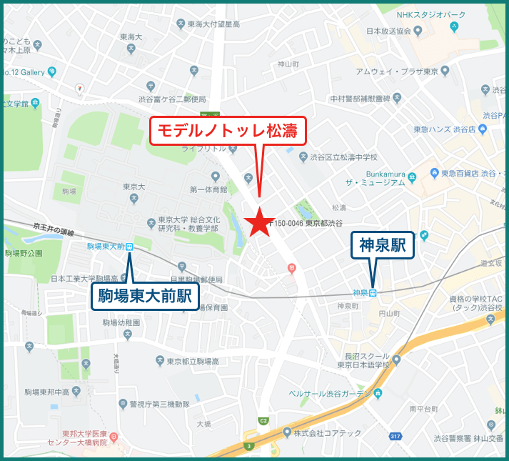 モデルノトッレ松濤の地図
