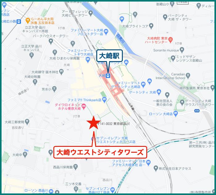 大崎ウエストシティタワーズの地図