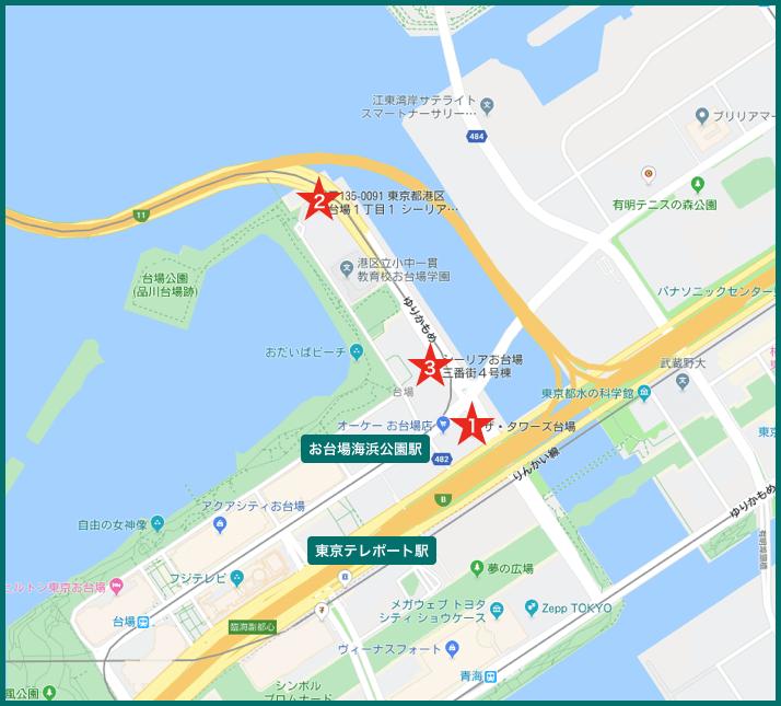 お台場タワーマンションの地図