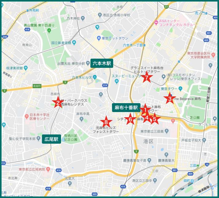 麻布タワーマンションの地図