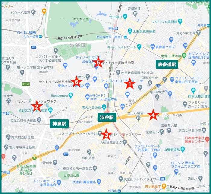 渋谷タワーマンションの地図