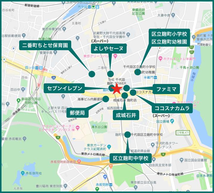ザ・千代田麹町タワーの周辺施設