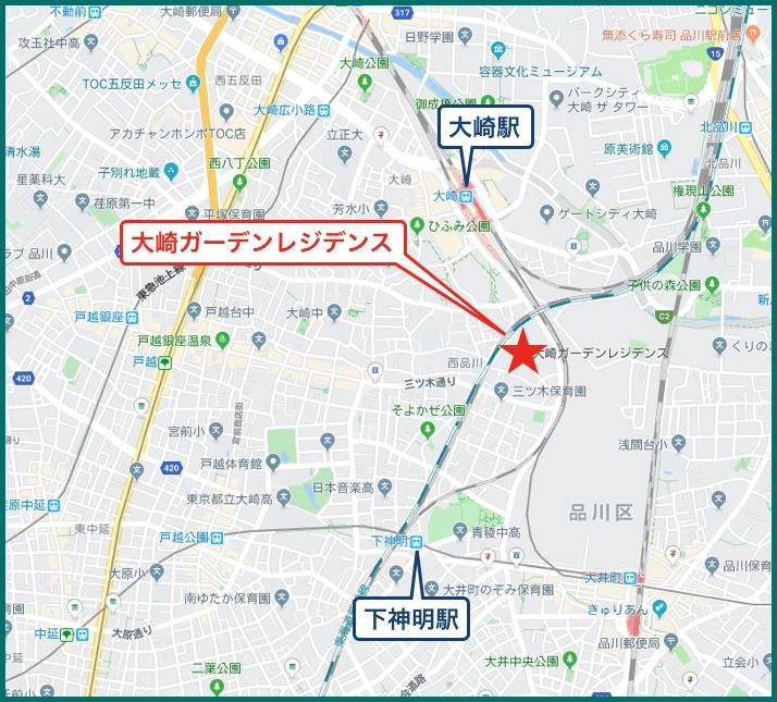 大崎ガーデンレジデンスの地図