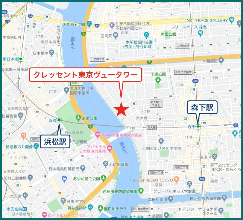 クレッセント東京ヴュータワーの地図