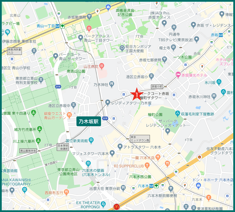 乃木坂タワーマンションの地図