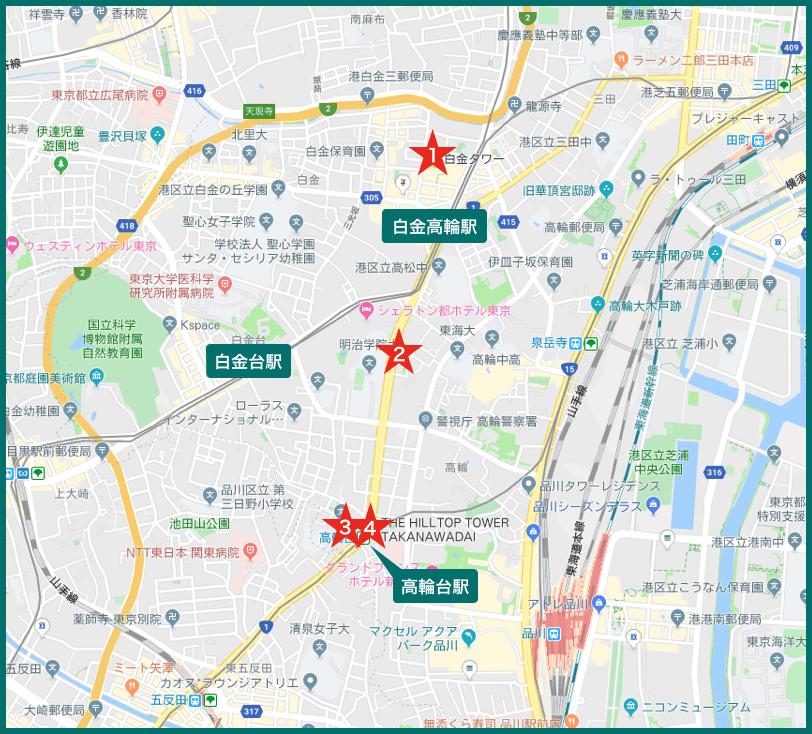 高輪台タワーマンションの地図