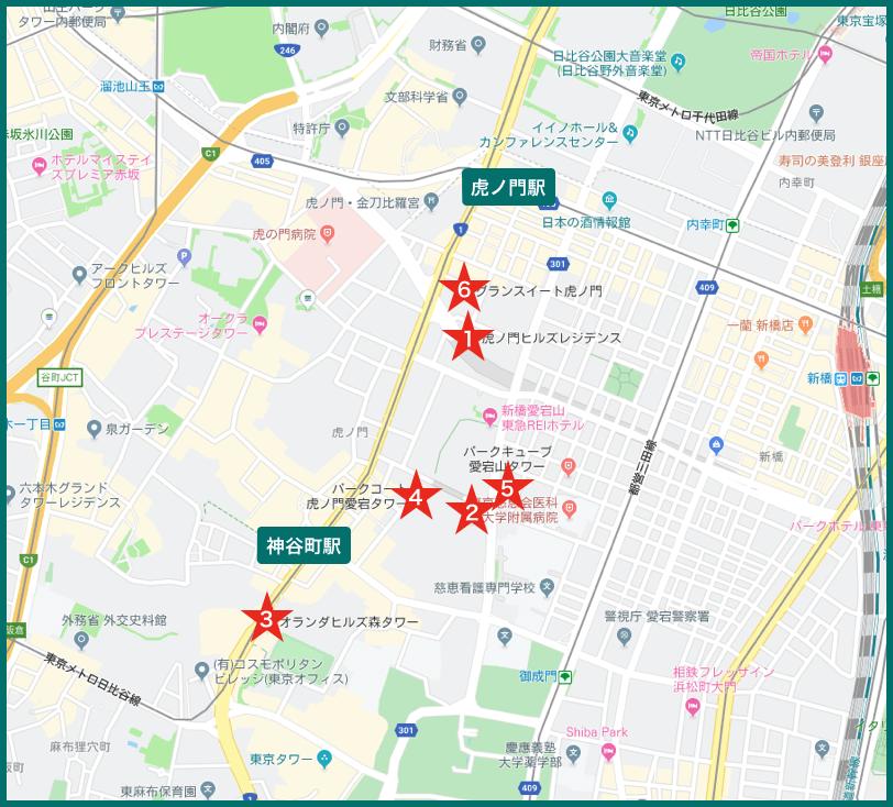 虎ノ門タワーマンションの地図
