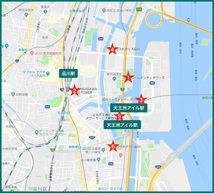 品川タワーマンションの地図