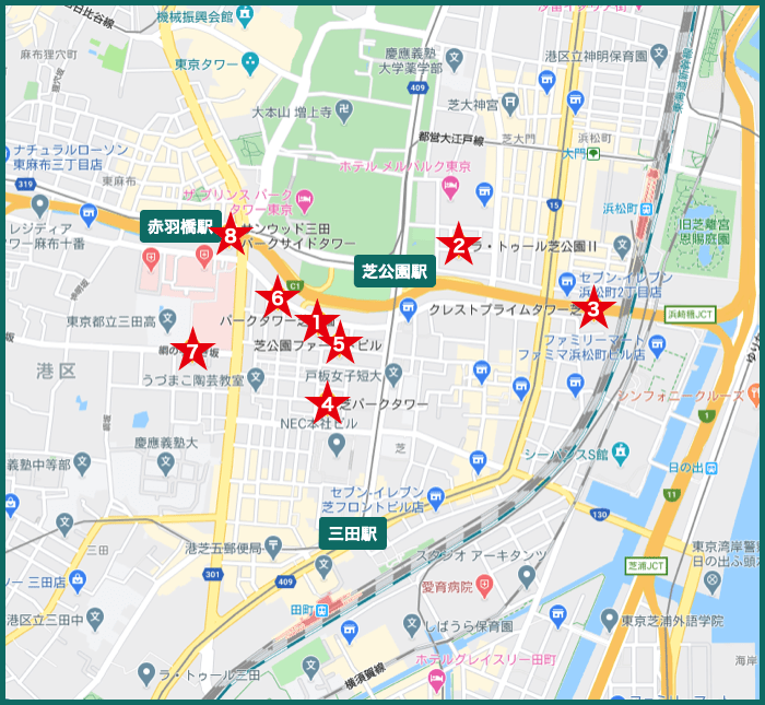 芝公園タワーマンションの地図