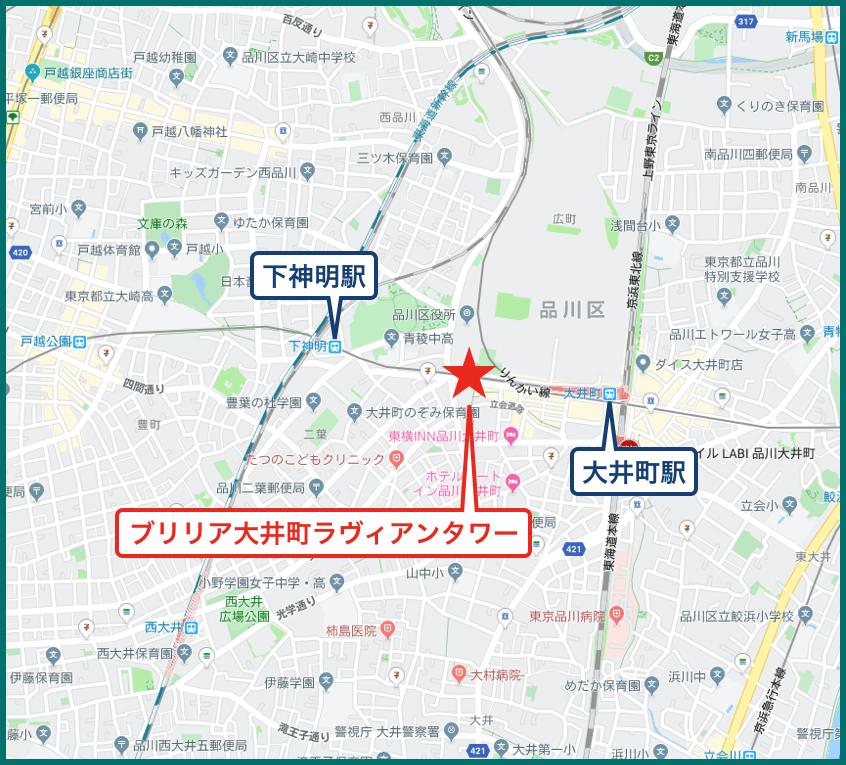 ブリリア大井町ラヴィアンタワーの地図