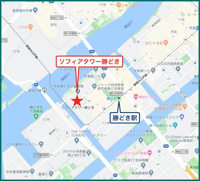 ソフィアタワー勝どきの地図