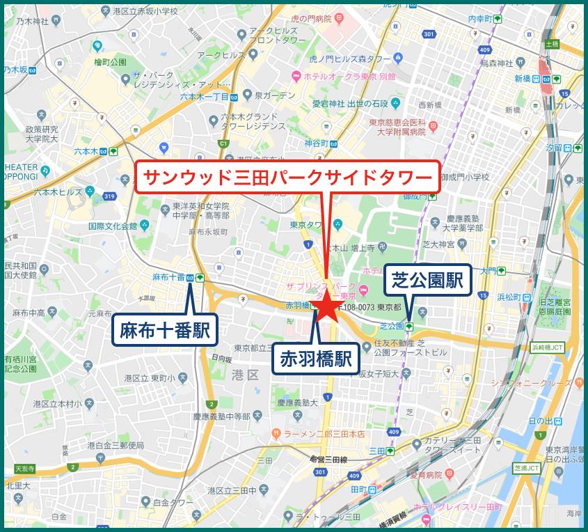 サンウッド三田パークサイドタワーの地図