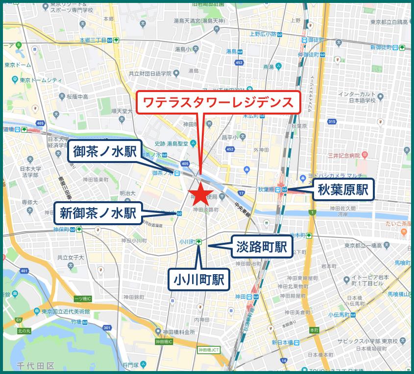 ワテラスタワーレジデンスの地図