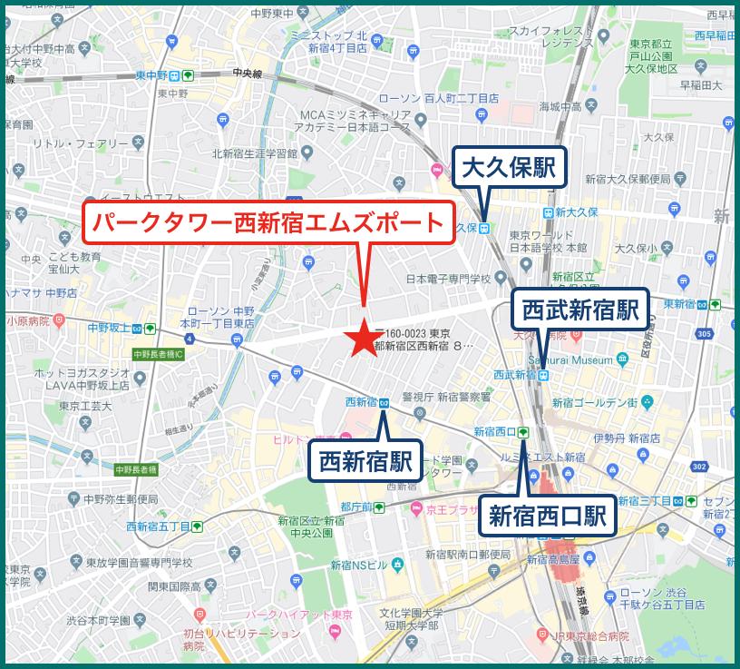 パークタワー西新宿エムズポートの地図
