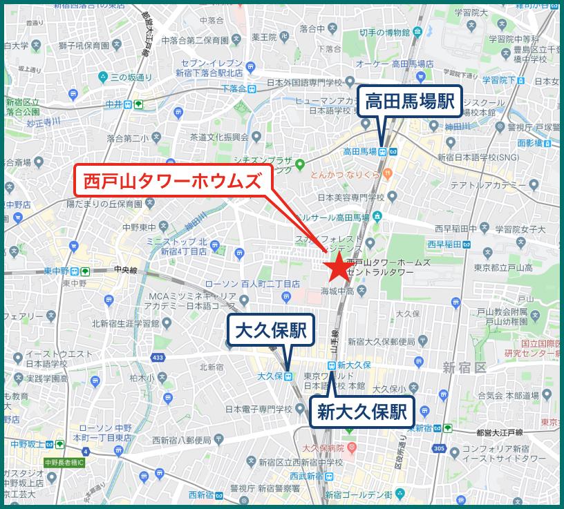 西戸山タワーホウムズの地図