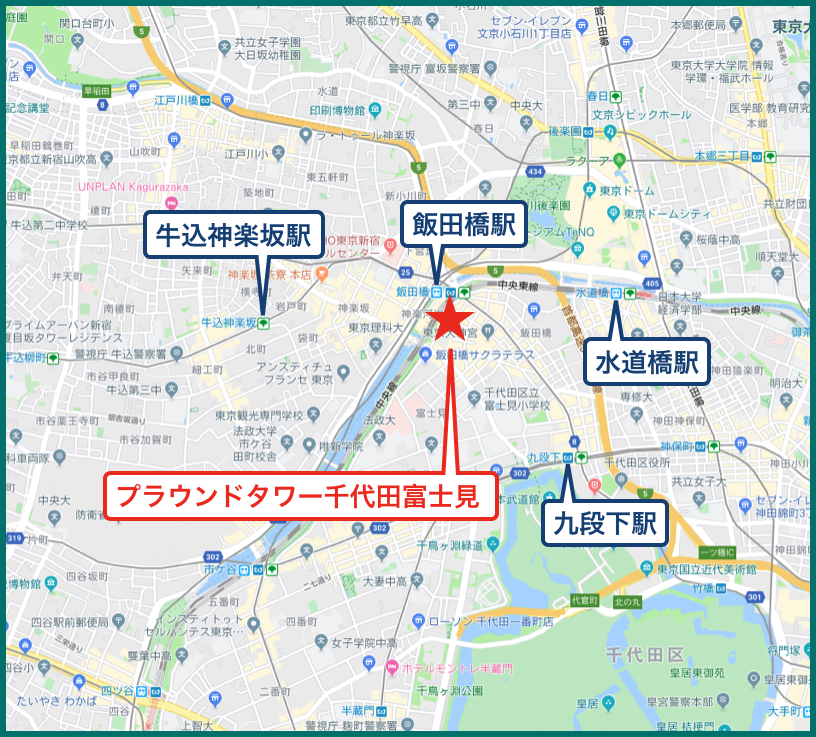 プラウドタワー千代田富士見の地図