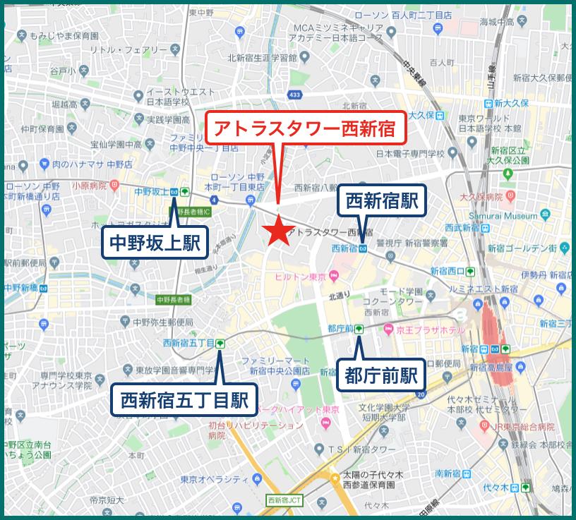 アトラスタワー西新宿の地図