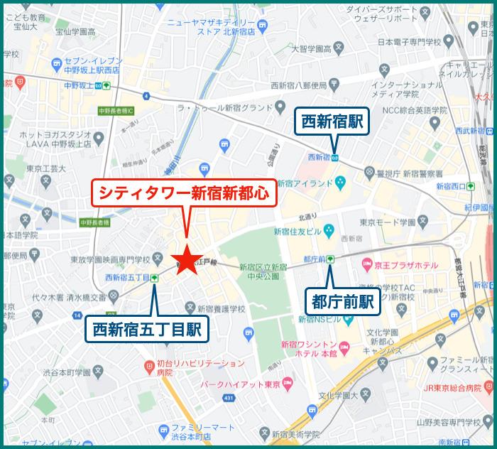 シティタワー新宿新都心の地図