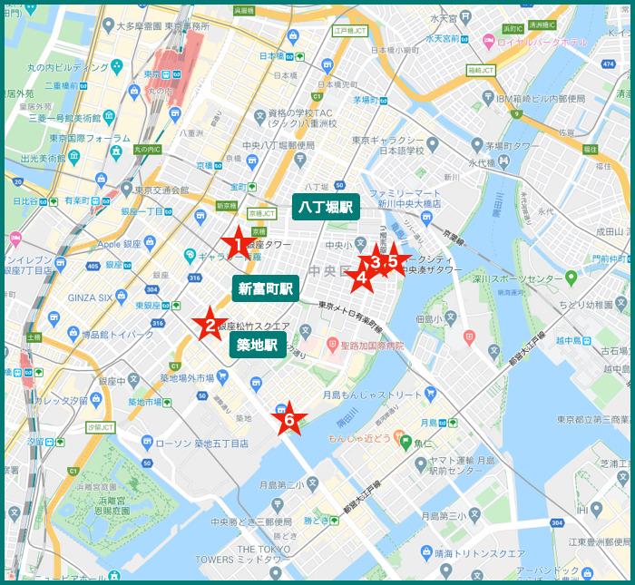 銀座タワーマンションの地図