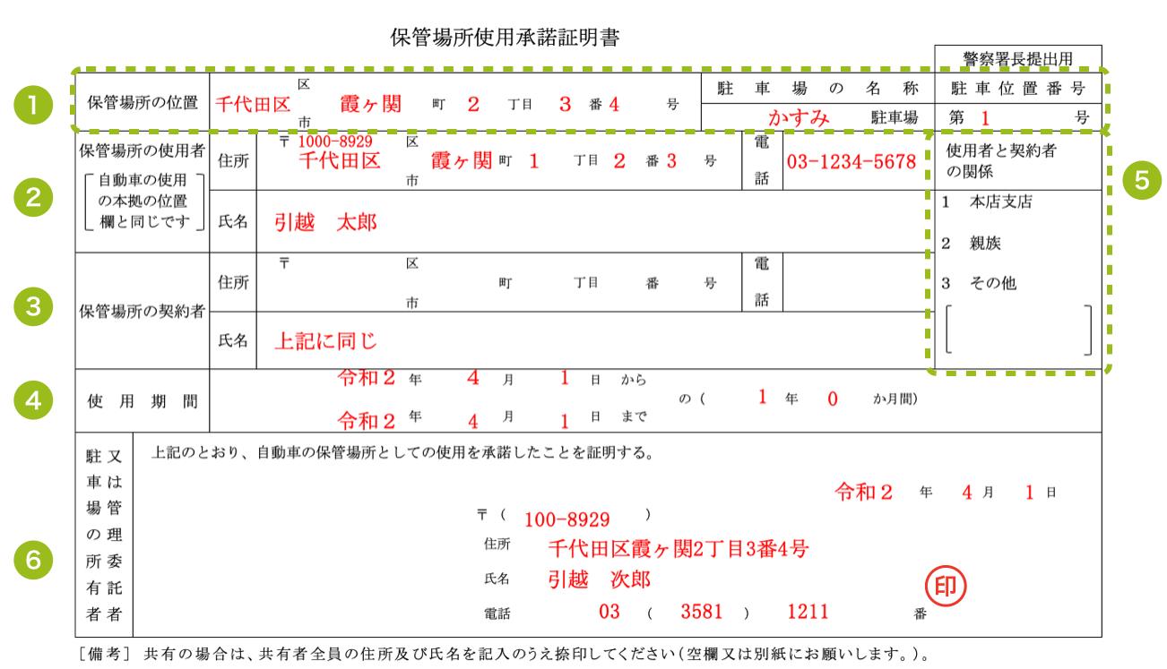 保管場所使用承諾証明書の書き方見本