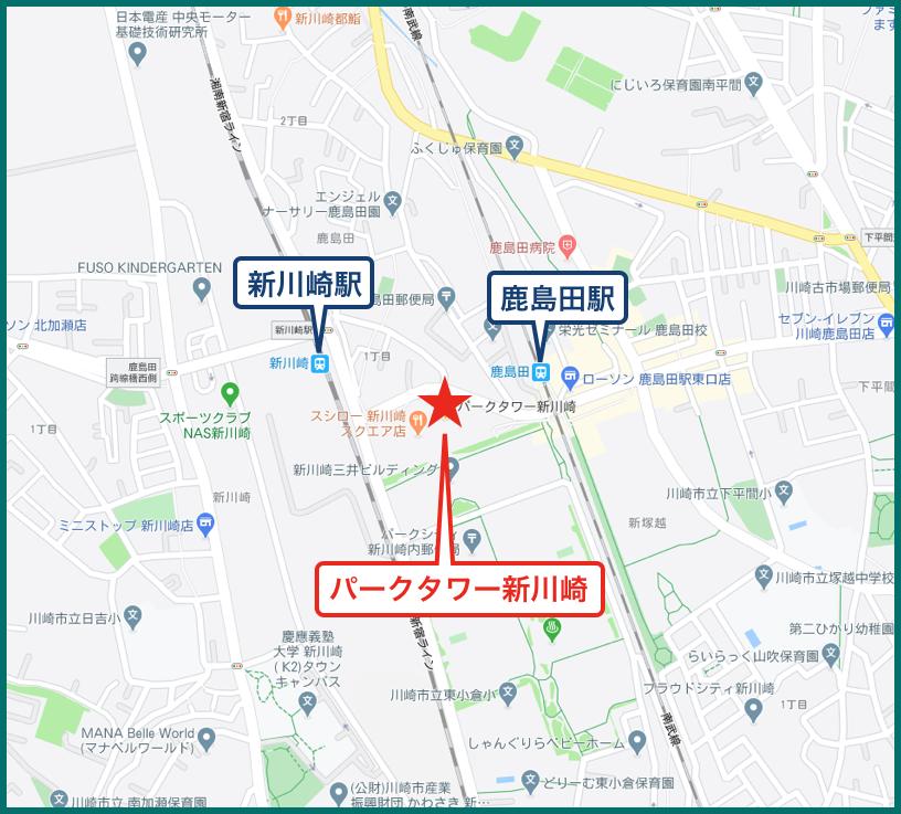 パークタワー新川崎の地図