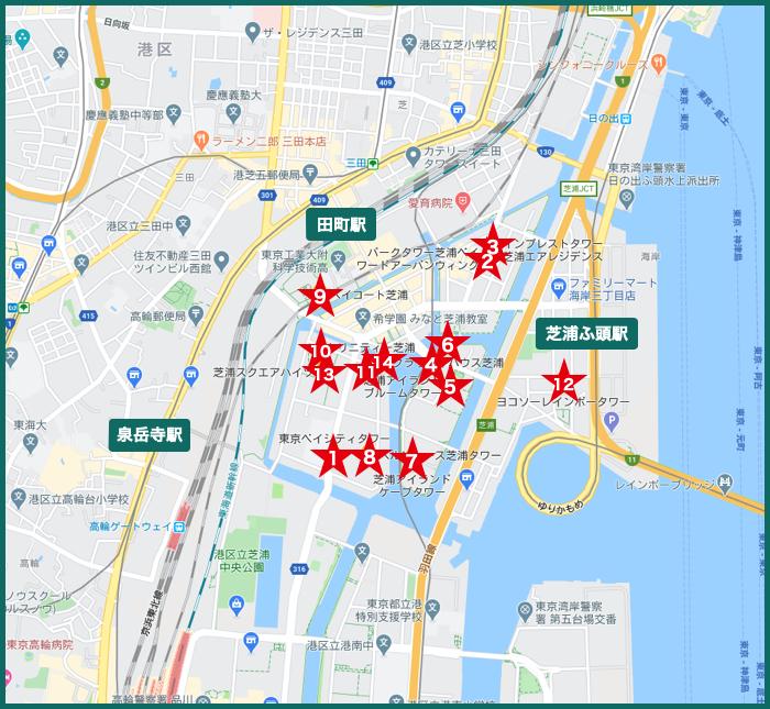 芝浦タワーマンションの地図