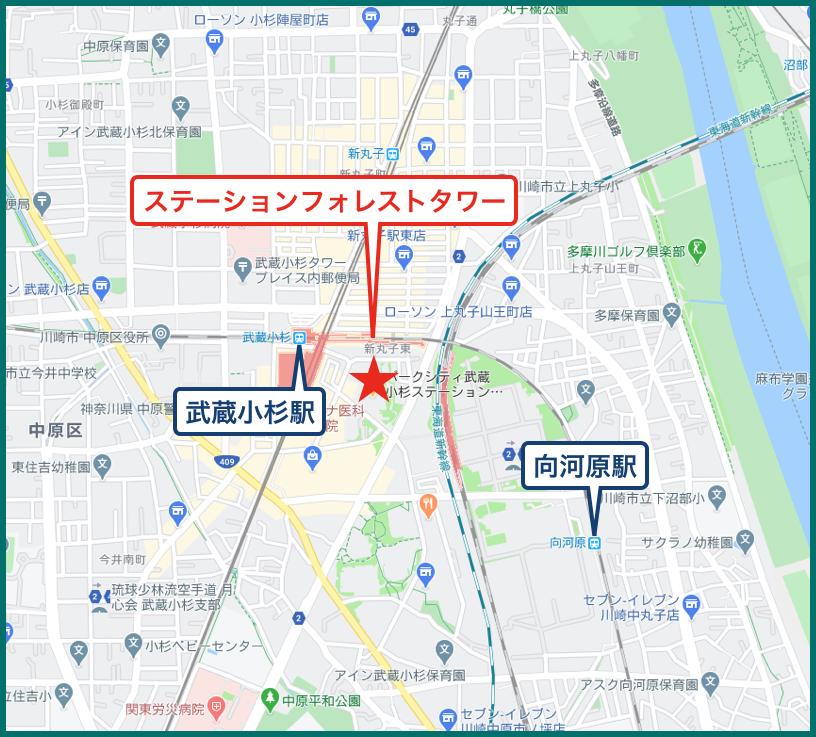 パークシティ武蔵小杉ステーションフォレストタワーの地図