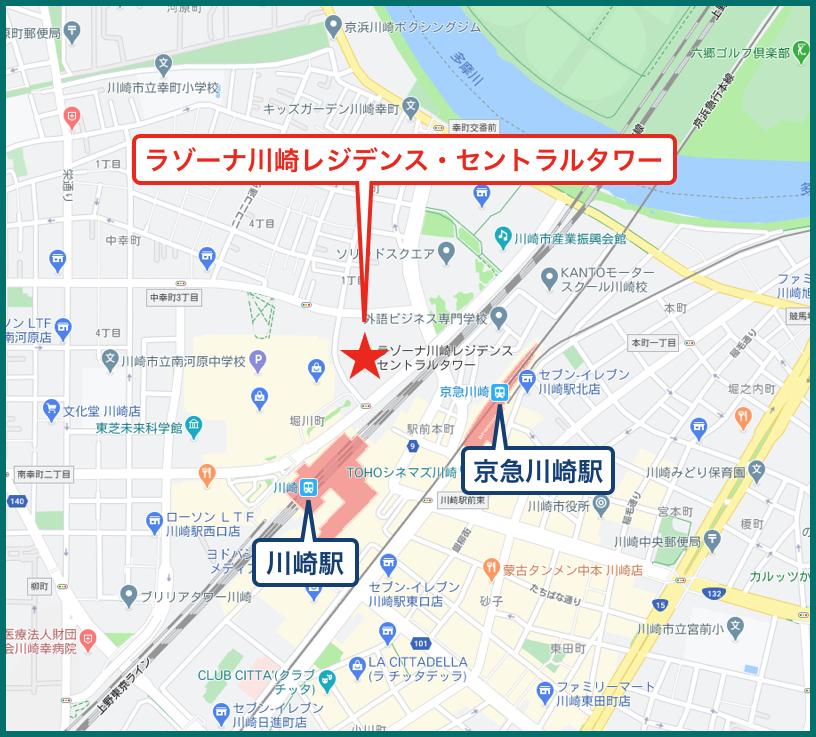 ラゾーナ川崎レジデンス・セントラルタワーの地図