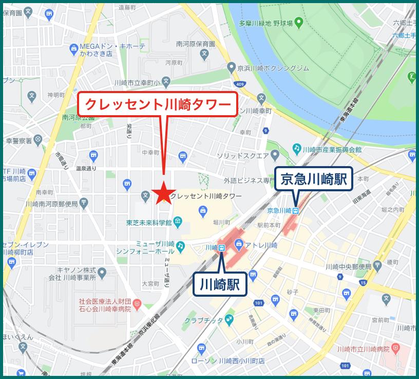 クレッセント川崎タワーの地図