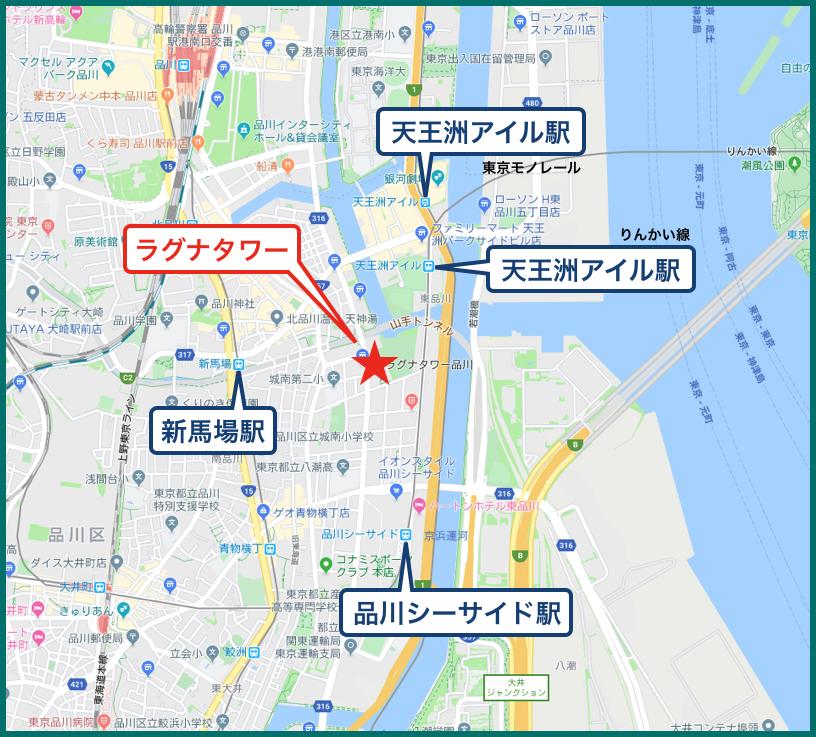 ラグナタワーの地図
