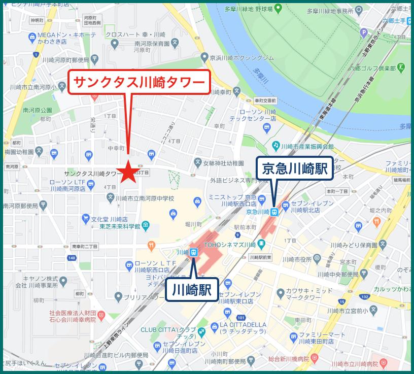 サンクタス川崎タワーの地図