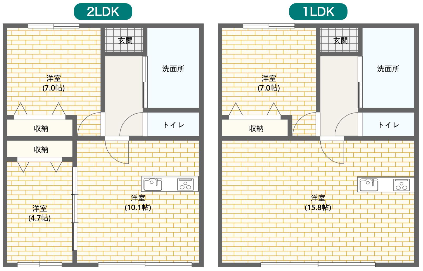 2LDKと1LDKの間取り図比較